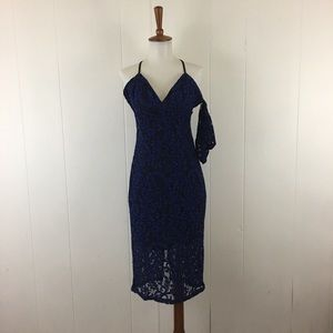 Bardot Lace Sleeveless Sheath Dress with Arm Cuff